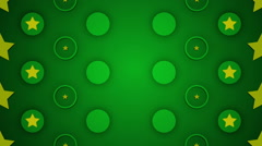 green abstract loop motion background, pulsating circles and yellow star - stock footage