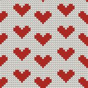 Stock Illustration of Seamless knitting pattern with Hearts