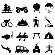 leisure and recreation icons - stock illustration