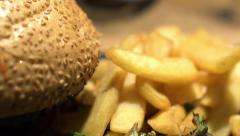 Close up of tasty hamburger and french fries HD Stock Footage