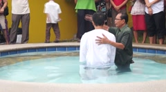 Stock Video Footage of pastor baptism
