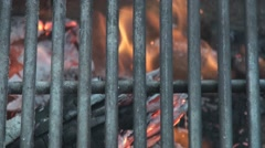 Close up of grill on fire pit 2 Stock Footage