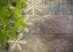 Christmas background, decoration on a rustic wooden board. Stock Photos