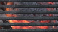 Close up of grill on fire pit 5 Stock Footage
