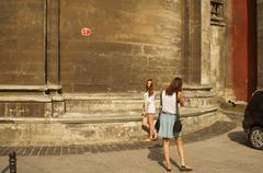 wall, girl photographed - stock photo
