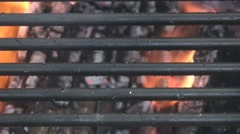 Extreme close up of grill on fire pit Stock Footage