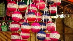 Hanging abaca christmas balls Stock Footage