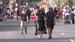 Open streets Toronto street festival on sunny summer day Stock Footage