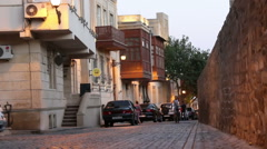 Street in Old Baku next to wall Stock Footage