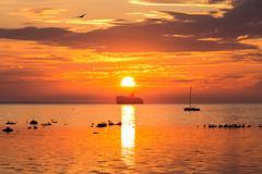 Cruise liner ship in sunset in sea Kuvituskuvat