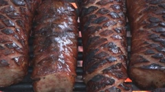 Extreme close up of grilling sausage on the fire pit 5 Stock Footage