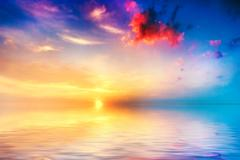 Calm sea at sunset. beautiful sky with clouds Stock Photos