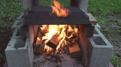 Fire pit from building blocks Stock Footage