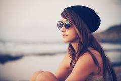 young fashion hipster woman - stock photo