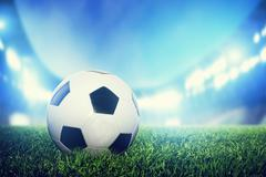 Football, soccer match. a leather ball on grass, lawn. lights on the stadium  Stock Illustration
