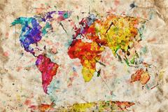 Vintage world map. colorful paint, watercolor on grunge, old paper. Stock Photos