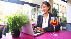 Businesswoman Using Laptop during a Break Stock Footage