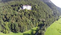 Historic Castle in the Mountains - Aerial Flight Stock Footage