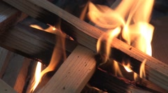 Starting fire in the fire pit 6 Stock Footage
