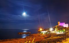 coastline by night - stock photo