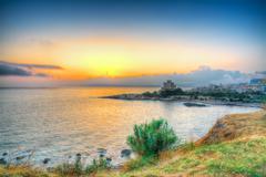scenic sunset in alghero - stock photo