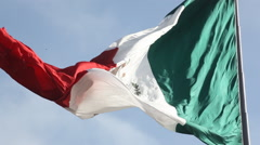 Large Mexican Flag Waving in the Wind Stock Footage