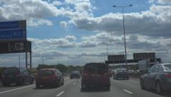 POV Driving Shot M25 Motorway - London, Heathrow, England Stock Footage