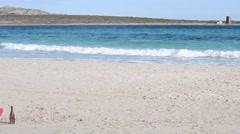 Panoramic view of La Pelosa beach Stock Footage