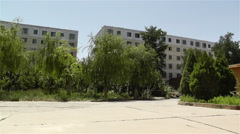 Block Buildings in Gansu Province China 3 pan Stock Footage