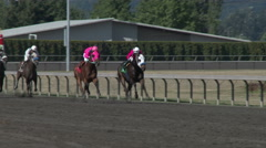 Horse Race at Racetrack Stock Footage