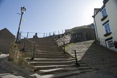 Church stairs in whitby, north yorkshire Stock Photos