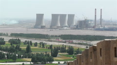 Coal Power Plant Smoking Stacks and the Great Wall in Jiayuguan China 1 - stock footage