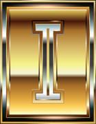 ingot font illustration letter i - stock illustration
