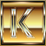 ingot font illustration letter k - stock illustration