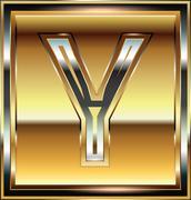 ingot font illustration letter y - stock illustration