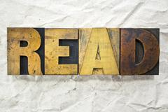 read letterpress - stock photo