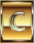 ingot font illustration letter c - stock illustration
