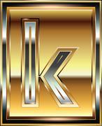 Ingot font illustration letter k Stock Illustration