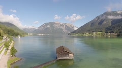 Flying over a Mountain Lake - Aerial Flight Stock Footage