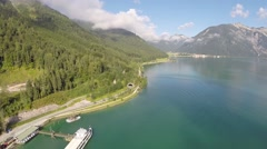 Jetty on a Mountain Lake - Aerial Flight Stock Footage