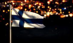 Finland National Flag City Light Night Bokeh Background 3D - stock illustration