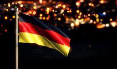 Germany National Flag City Light Night Bokeh Background 3D - stock illustration
