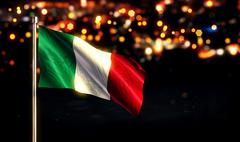 Italy National Flag City Light Night Bokeh Background 3D Stock Illustration