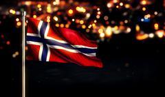 Norway Flag City Light Night Bokeh Background 3D - stock illustration