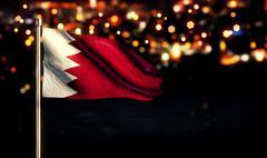 Bahrain National Flag City Light Night Bokeh Background 3D - stock illustration