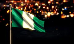 Nigerian National Flag City Light Night Bokeh Background 3D - stock illustration