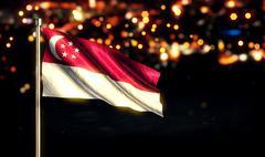 Singapore National Flag City Light Night Bokeh Background 3D - stock illustration