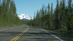 Driving Cascades Lakes Scenic Byway towards South Sister, Oregon Stock Footage