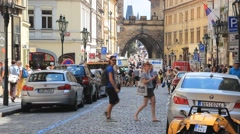 The street leading to the Charles Bridge in Prague - stock footage