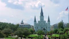 St. Louis Cathedral and Jackson Square 02 Stock Footage